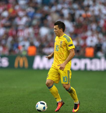 MARSEILLE, FRANCE - JUNE 21, 2016: Yevhen Konoplyanka of Ukraine attacks during UEFA EURO 2012 game against Poland at Stade Velodrome in Marseille, France