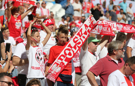 MARSEILLE, FRANCE - JUNE 21, 2016: Polish fans show their support during the UEFA EURO 2016 game Ukraine v Poland at Stade Velodrome in Marseille. Poland won 1-0