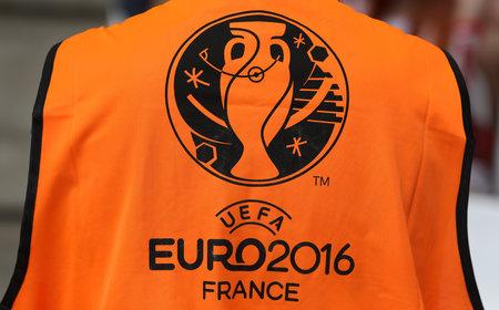 MARSEILLE, FRANCE - JUNE 21, 2016: Shirtfront with UEFA EURO 2016 logo on the stadium steward during UEFA EURO 2016 game Ukraine vs Poland at Stade Velodrome in Marseille, France