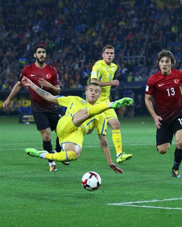striker: KHARKIV, UKRAINE - SEPTEMBER 2, 2017: Andriy Yarmolenko of Ukraine kicks a ball during FIFA World Cup 2018 qualifying game against Turkey at OSC Metalist stadium in Kharkiv, Ukraine. Ukraine won 2-0