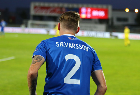 REYKJAVIK, ICELAND - SEPTEMBER 5, 2017: Birkir Sevarsson of Iceland in action during FIFA World Cup 2018 qualifying game against Ukraine at Laugardalsvollur stadium in Reykjavik, Iceland Editöryel