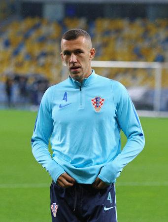 KYIV, UKRAINE - OCTOBER 8, 2017: Training session of Croatia Team before FIFA World Cup 2018 qualifying game against Ukraine at NSC Olimpiyskyi stadium in Kyiv. Ivan Perisic in action Editorial