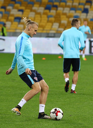 KYIV, UKRAINE - OCTOBER 8, 2017: Training session of Croatia Team before FIFA World Cup 2018 qualifying game against Ukraine at NSC Olimpiyskyi stadium in Kyiv. Domagoj Vida in action