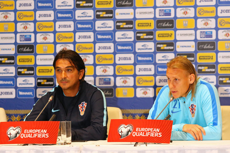 KYIV, UKRAINE - OCTOBER 8, 2017: Press-conference before FIFA World Cup 2018 qualifying game Ukraine v Croatia at NSC Olimpiyskyi stadium in Kyiv. Head Coach of Croatia Zlatko Dalic and Domagoj Vida