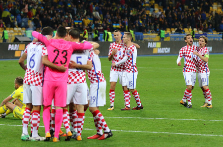 KYIV, UKRAINE - OCTOBER 9, 2017: Croatian players celebrate a victory after the FIFA World Cup 2018 qualifying game against Ukraine at NSC Olimpiyskyi stadium in Kyiv, Ukraine. Croatia won 2-0