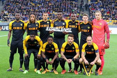KYIV, UKRAINE - OCTOBER 26, 2017: Young Boys players pose for a group photo before UEFA Europa League game against FC Dynamo Kyiv at NSC Olimpiyskyi stadium in Kyiv, Ukraine Editorial