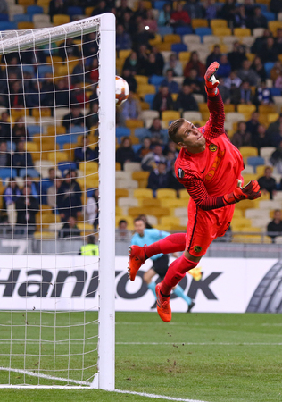 KYIV, UKRAINE - OCTOBER 26, 2017: Goalkeeper David Von Ballmoos of Young Boys misses a goal action during UEFA Europa League game against FC Dynamo Kyiv at NSC Olimpiyskyi stadium in Kyiv, Ukraine