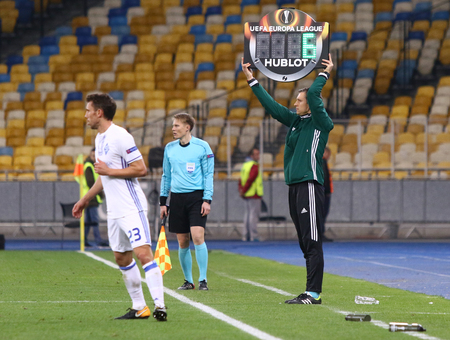 KYIV, UKRAINE - OCTOBER 26, 2017: 4th Referee Jukka Honkanen (FIN) shows an information board with additional time during UEFA Europa League game FC Dynamo Kyiv v Young Boys at NSC Olimpiyskyi stadium Editorial