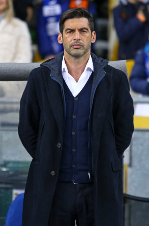 KYIV, UKRAINE - OCTOBER 22, 2017: Head coach of Shakhtar Donetsk Paulo Fonseca looks on during Ukrainian Premier League game against FC Dynamo Kyiv at NSC Olympic stadium in Kyiv, Ukraine