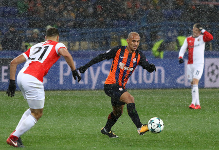 KHARKIV, UKRAINE - NOVEMBER 1, 2017: Alan Patrick of Shakhtar Donetsk controls a ball during UEFA Champions League game against Feyenoord at OSK Metalist stadium in Kharkiv, Ukraine. Shakhtar won 3-1 Editöryel