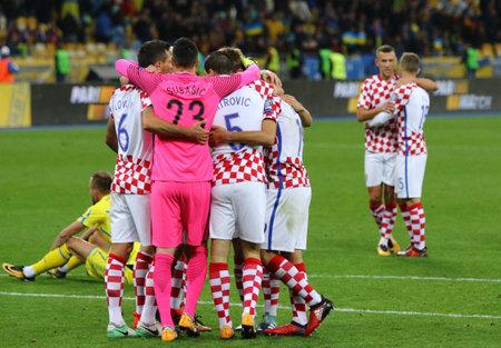 KYIV, UKRAINE - OCTOBER 9, 2017: Croatian players celebrate a victory after the FIFA World Cup 2018 qualifying game against Ukraine at NSC Olimpiyskyi stadium in Kyiv, Ukraine. Croatia won 2-0