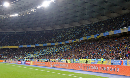 KYIV, UKRAINE - OCTOBER 9, 2017: Tribunes of NSC Olimpiyskyi stadium in Kyiv during FIFA World Cup 2018 qualifying game Ukraine v Croatia. The venue of 2018 UEFA Champions League Final