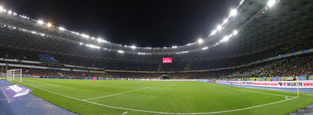 KYIV, UKRAINE - OCTOBER 9, 2017: Panoramic view of NSC Olimpiyskyi stadium in Kyiv during FIFA World Cup 2018 qualifying game Ukraine v Croatia. The venue of 2018 UEFA Champions League Final Editorial