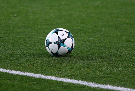 KHARKIV, UKRAINE - NOVEMBER 1, 2017: Official UEFA Champions League match ball on the grass during UEFA Champions League game between Shakhtar Donetsk and Feyenoord at OSK Metalist stadium in Kharkiv