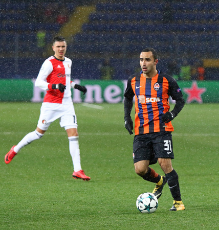 KHARKIV, UKRAINE - NOVEMBER 1, 2017: Ismaily of Shakhtar Donetsk controls a ball during UEFA Champions League game against Feyenoord at OSK Metalist stadium in Kharkiv, Ukraine. Shakhtar won 3-1