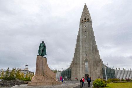 REYKJAVIK, ICELAND - SEPTEMBER 5, 2017: Hallgrimskirkja Cathedral, Lutheran parish church in Reykjavik, Iceland. At 74.5m high, its the largest church in Iceland Editorial