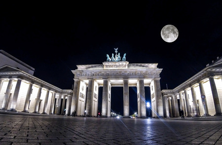 Brandenburg Gate at night, Berlin, Germany. Brandenburg Gate built in 1788-1791 and now it is the most famous and well-known landmarks of Germany