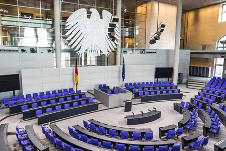 BERLIN, GERMANY - SEPTEMBER 20, 2017: Interior of Plenary Hall (meeting room) of German Parliament (Deutscher Bundestag). Building and Meeting room available for public between plenary sessions 報道画像