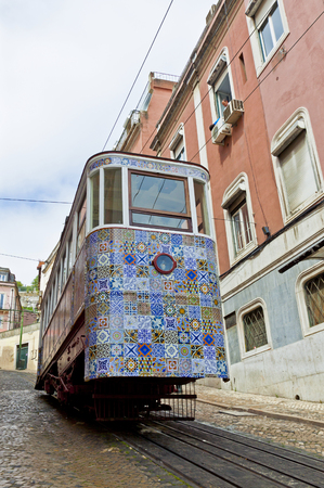 The Gloria Funicular (Portuguese: Ascensor da Gloria), is a funicular railway line in Lisbon, Portugal. Connects the Pombaline downtown with the Bairro Alto. Carriage decorated with Azulejos tiles