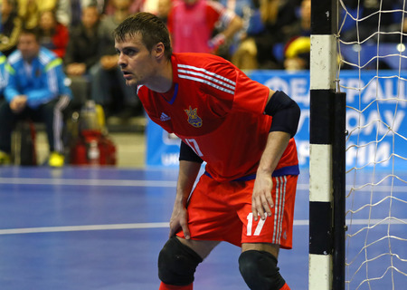 KYIV, UKRAINE - JANUARY 29, 2017: Goalkeeper Kyrylo Tsypun of Ukraine in action during friendly Futsal match against Spain at Palats of Sports in Kyiv, Ukraine Editorial