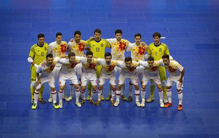KYIV, UKRAINE - JANUARY 29, 2017: National Futsal Team of Spain pose for a group photo during friendly Futsal match against Ukraine at Palats of Sports in Kyiv, Ukraine