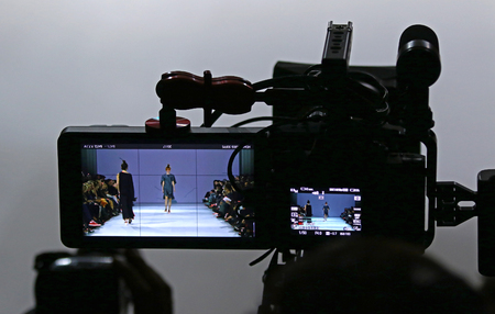 KYIV, UKRAINE - OCTOBER 13, 2016: Televison Camera Broadcasting a Fashion show by Kristina Bobkova as part of Spring/Summer 2017 presentation during 39th Ukrainian Fashion Week at Mystetskyi Arsenal