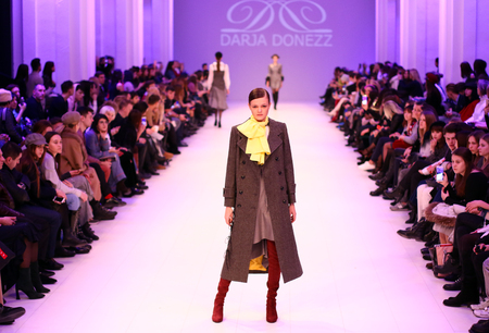 KYIV, UKRAINE - FEBRUARY 7, 2018: Models walk runway at Darja DONEZZ Fall/Winter 2018/19 presentation during 42nd Ukrainian Fashion Week FW18-19 at Mystetskyi Arsenal in Kyiv, Ukraine