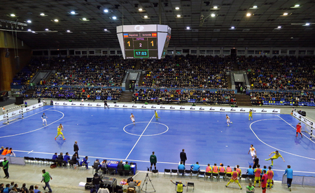 KYIV, UKRAINE - JANUARY 28, 2017: Panoramic view of Palats of Sports in Kyiv during friendly Futsal match Ukraine v Spain