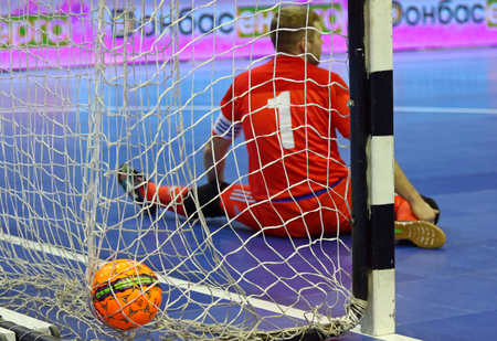 KYIV, UKRAINE - JANUARY 28, 2017: Goalkeeper Ievgen Ivanyak of Ukraine missed a goal during friendly Futsal match against Spain at Palats of Sports in Kyiv, Ukraine Editorial