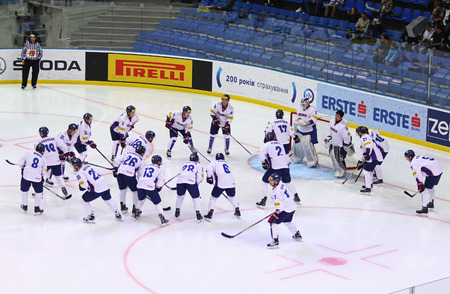 KYIV, UKRAINE - APRIL 28, 2017: Team of South Korea during their IIHF 2017 Ice Hockey World Championship Div 1A game against Ukraine at Palace of Sports in Kyiv