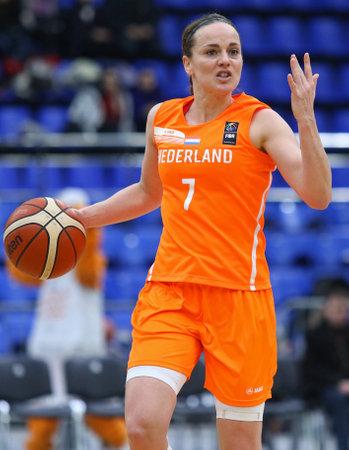 KYIV, UKRAINE - FEBRUARY 14, 2018: Tanya Broring of Netherlands (#7) in action during FIBA Womens EuroBasket 2019 game Ukraine v Netherlands at Palace of Sports in Kyiv. Ukraine won 84-49