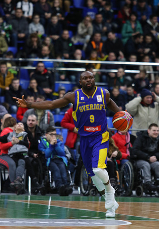 KYIV, UKRAINE - FEBRUARY 26, 2018: Thomas MASSAMBA of Sweden in action during FIBA World Cup 2019 European Qualifiers game Ukraine v Sweden at Palace of Sports in Kyiv. Ukraine won 77-66
