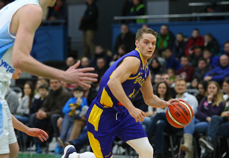 KYIV, UKRAINE - FEBRUARY 26, 2018: Ludvig HAKANSON of Sweden in action during FIBA World Cup 2019 European Qualifiers game Ukraine v Sweden at Palace of Sports in Kyiv. Ukraine won 77-66