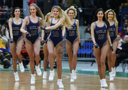 KYIV, UKRAINE - FEBRUARY 26, 2018: Cheerleaders team Red Foxes perform during FIBA World Cup 2019 European Qualifiers game Ukraine v Sweden at Palace of Sports in Kyiv Editorial