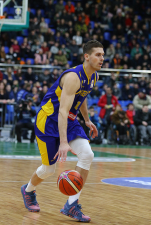 KYIV, UKRAINE - FEBRUARY 26, 2018: Christopher CZERAPOWICZ of Sweden in action during FIBA World Cup 2019 European Qualifiers game Ukraine v Sweden at Palace of Sports in Kyiv. Ukraine won 77-66