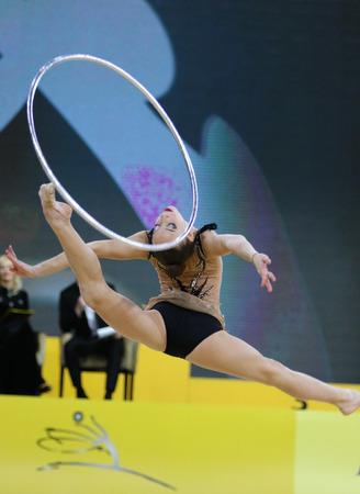KYIV, UKRAINE - MARCH 16, 2018: Rhythmic gymnast Natalie Raits of Israel performs with Hoop during Rhythmic Gymnastics Grand Prix