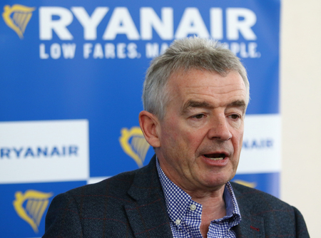 BORYSPIL, UKRAINE - MARCH 23, 2018: Ryanair's Chief Executive Officer Michael O'Leary makes a speech during Ryanair official Press-conference at Kyiv Boryspil Airport dedicated to Ukraine market entry