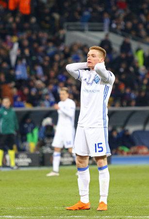 KYIV, UKRAINE - MARCH 15, 2018: Viktor Tsygankov of FC Dynamo Kyiv reacts during UEFA Europa League Round of 16 game against SS Lazio at NSK Olimpiyskyi stadium in Kyiv, Ukraine Editorial