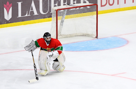 KYIV, UKRAINE - APRIL 17, 2018: Goalkeeper Lajos GONCZI of Hungary in action during the IIHF 2018 Ice Hockey U18 World Championship Div 1 Group B game against Ukraine at Palace of Sports in Kyiv Editorial