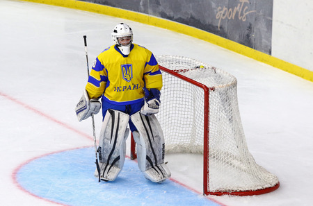 KYIV, UKRAINE - APRIL 17, 2018: Goalkeeper Vladyslav HURKO of Ukraine in action during the IIHF 2018 Ice Hockey U18 World Championship Div 1 Group B game against Hungary at Palace of Sports in Kyiv