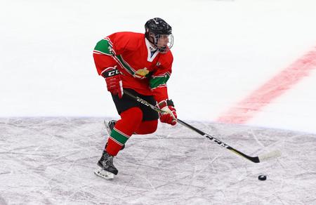 KYIV, UKRAINE - APRIL 17, 2018: Patrik Balazs SZECSI of Hungary in action during the IIHF 2018 Ice Hockey U18 World Championship Div 1 Group B game against Ukraine at Palace of Sports in Kyiv, Ukraine
