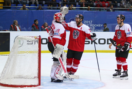 KYIV, UKRAINE - APRIL 24, 2017: Austrian players celebrate after won the IIHF 2017 Ice Hockey World Championship Div 1 Group A game against Hungary at Palace of Sports in Kyiv. Final score 3-1