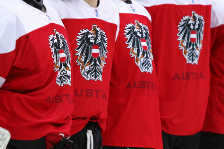 KYIV, UKRAINE - APRIL 25, 2017: Close-up details of Austrian players jerseys seen during the IIHF 2017 Ice Hockey World Championship Div 1A game against Ukraine at Palace of Sports in Kyiv Editorial