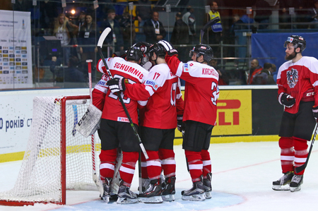 KYIV, UKRAINE - APRIL 25, 2017: Players of Austria National Team celebrate after the IIHF 2017 Ice Hockey World Championship Div 1A game against Ukraine at Palace of Sports in Kyiv. Austria won 1-0 Editorial