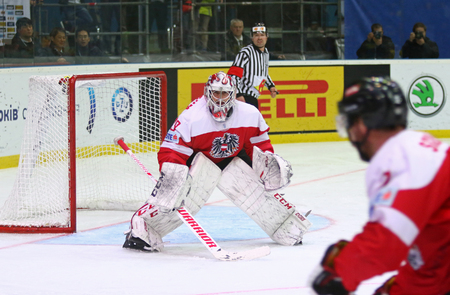 KYIV, UKRAINE - APRIL 25, 2017: Goalkeeper Bernhard STARKBAUM of Austria in action during IIHF 2017 Ice Hockey World Championship Div 1 Group A game against Ukraine at Palace of Sports in Kyiv Editorial