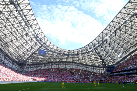 MARSEILLE, FRANCE - JUNE 21, 2016: Panoramic view of Stade Velodrome stadium during the UEFA EURO 2016 game Ukraine v Poland