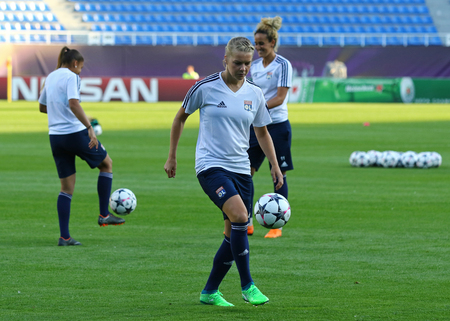 KYIV, UKRAINE - MAY 23, 2018: Ada Hegerberg of Olympique Lyonnais in action during training session before UEFA Women's Champions League Final 2018 game against VfL Wolfsburg at V.Lobanovskiy Stadium