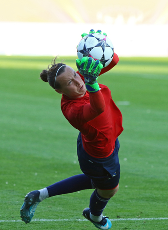 KYIV, UKRAINE - MAY 23, 2018: Goalkeeper Pauline Peyraud-Magnin of Olympique Lyonnais in action during training session before UEFA Women's Champions League Final 2018 game against VfL Wolfsburg