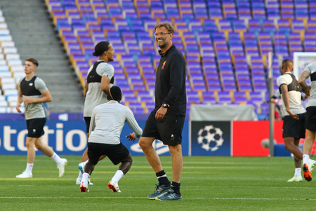 KYIV, UKRAINE - MAY 25, 2018: Liverpool head coach Jurgen Klopp walks on the pitch during training session before UEFA Champions League Final 2018 game against Real Madrid at NSC Olimpiyskiy Stadium