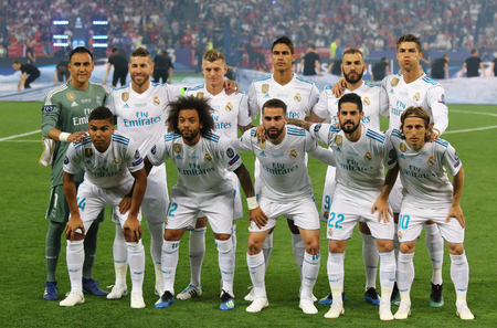 KYIV, UKRAINE - MAY 26, 2018: Real Madrid players pose for a group photo before the UEFA Champions League Final 2018 game against Liverpool at NSC Olimpiyskiy Stadium in Kyiv, Ukraine Editorial